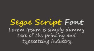 Segoe Script Font Free Download